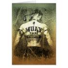 Cartão Lutador tailandês de Muay do vintage