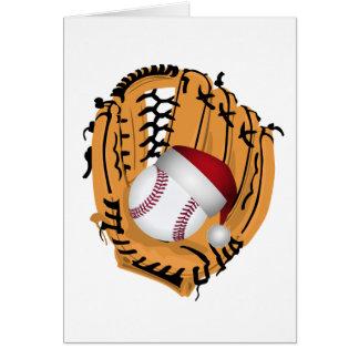 Cartão Luva e bola de basebol do Natal