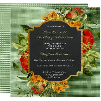 Cartão Luxo barroco floral Metall do verde da hortelã do