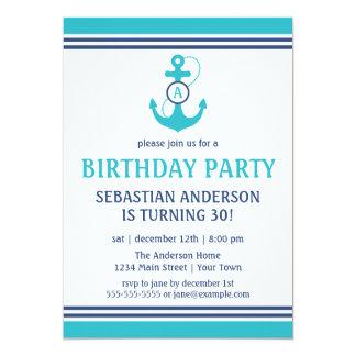 Cartão Luz - a festa de aniversário náutica azul convida