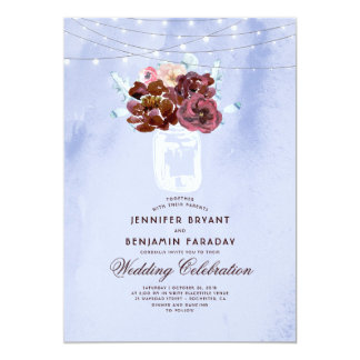Cartão Luz - azul e casamento floral do frasco de