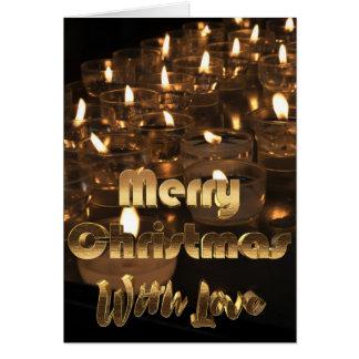 Cartão Luz de vela dourada da tipografia do Feliz Natal