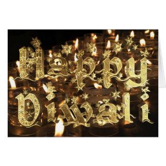 Cartão Luz de vela elegante feliz da tipografia do ouro