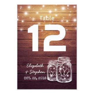 Cartão Luz do frasco de pedreiro do número da mesa do