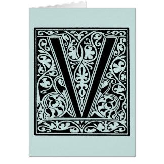 Cartão Luz do mar do Aqua do monograma da letra V do