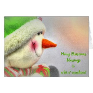 Cartão Luz do sol de sorriso do Feliz Natal do boneco de