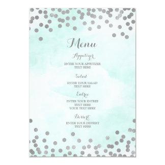 Cartão Luz - menu azul do casamento dos confetes da prata
