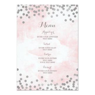Cartão Luz - menu cor-de-rosa do casamento dos confetes