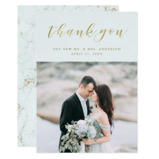 Cartão Luz - obrigado Wedding azul da foto do mármore |