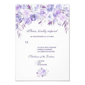 Cartão Luz - RSVP Wedding floral azul empoeirado roxo