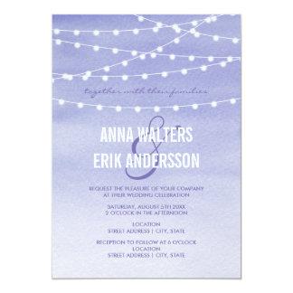 Cartão Luzes da corda da aguarela da lavanda