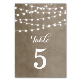 Cartão Luzes da corda do verão que Wedding números da mes