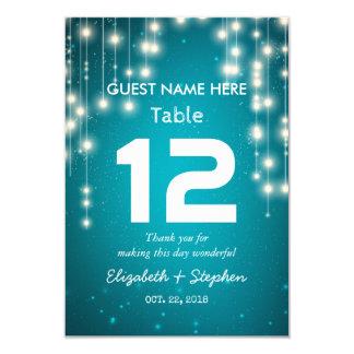 Cartão Luzes da corda que Wedding o número da mesa do