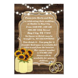 Cartão Luzes de madeira do girassol rústico que Wedding a