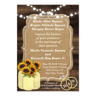 Cartão Luzes de madeira do girassol rústico que Wedding o