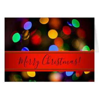 Cartão Luzes de Natal coloridos. Adicione o texto