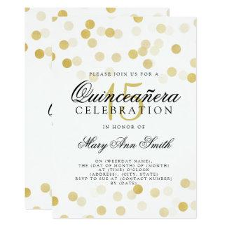 Cartão Luzes do brilho da folha de ouro do aniversário de