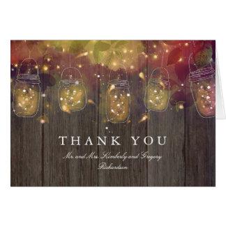 Cartão Luzes do frasco de pedreiro que Wedding o obrigado