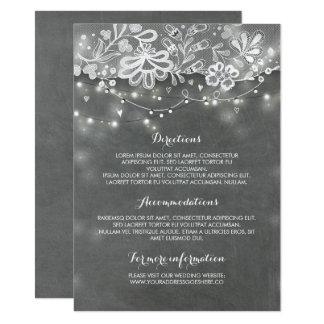 Cartão Luzes do laço e da corda do quadro que Wedding