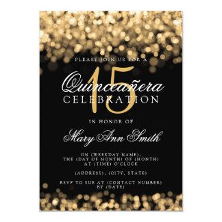 Cartão Luzes do ouro da festa de aniversário de