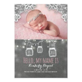 Cartão Luzes dos frascos de pedreiro e nascimento rústico
