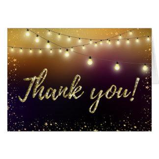 Cartão Luzes e obrigado que das estrelas você nota