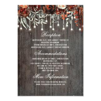 Cartão Luzes florais de Borgonha que Wedding o convidado