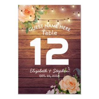 Cartão Luzes florais de madeira da corda que Wedding a