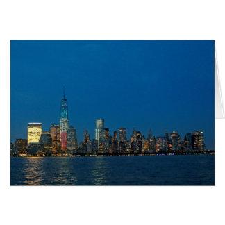 Cartão Luzes novas da noite da Nova Iorque EUA
