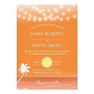 Cartão Luzes & palmeira tropicais da corda do casamento