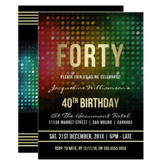 Cartão Luzes retros do disco do partido de aniversário de