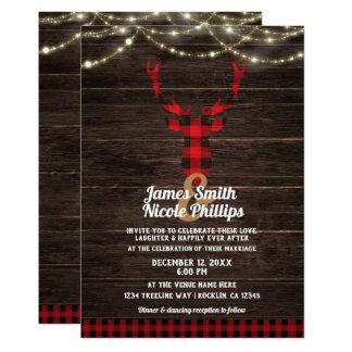 Cartão Luzes rústicas da madeira & da corda dos Antlers