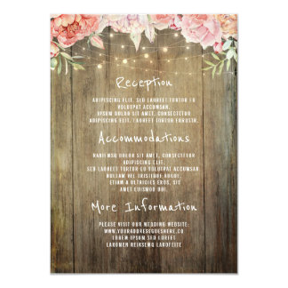 Cartão Luzes rústicas florais que Wedding o convidado da