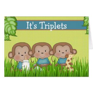 Cartão Macaco bonito dos meninos novos da objectiva