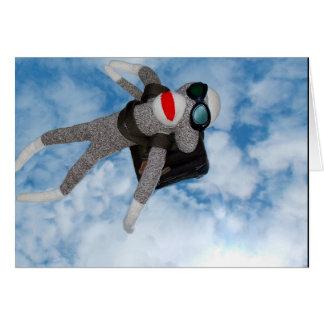 Cartão Macaco da peúga do mergulho de céu!