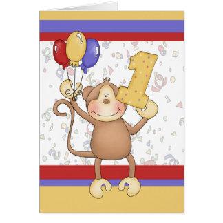 Cartão Macaco do aniversário