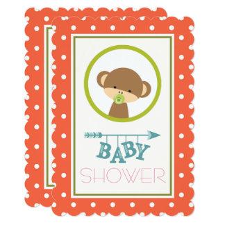 Cartão Macaco do bebê com um chá de fraldas do Pacifier