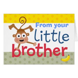 Cartão macaco do irmão mais novo
