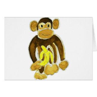 Cartão Macaco que guardara a banana