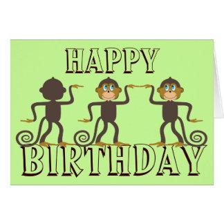 Cartão Macacos felizes da dança, aniversário