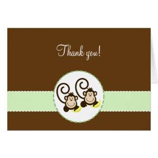 Cartão MACACOS PARVOS obrigado dobrado você notas