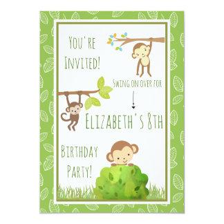 Cartão Macacos que balançam da festa de aniversário das