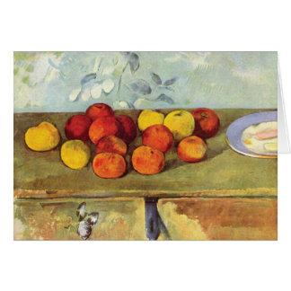 Cartão Maçãs & biscoitos pela nota de Paul Cezanne