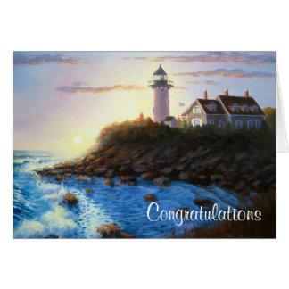 Cartão MACIÇO do farol de Cape Cod dos parabéns