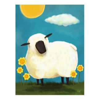 Cartão macio dos carneiros e das flores do amarelo