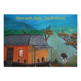 Cartão Madeira coreana do carregando do homem (Jigae)