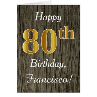 Cartão Madeira do falso, aniversário do 80 do ouro do