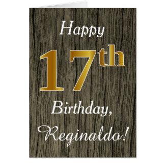 Cartão Madeira do falso, aniversário do ouro do falso 17o