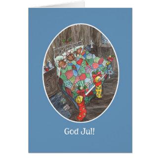 Cartão Madeira-Ratos bonitos das meias norueguesas do