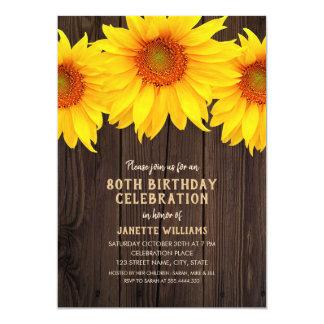 Cartão Madeira rústica da festa de aniversário do 80 do